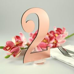 Laser Cut Brushed Rose Gold Table Numbers with Round Clear Stand