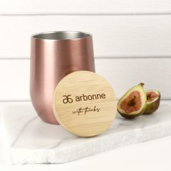 Personalised Rose Gold 360ml Wine Sipper with Engraved Bamboo Lid Corporate Gift