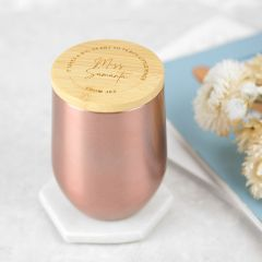 Personalised Engraved Rose Gold Wine Sipper with Bamboo Lid Teacher Gift