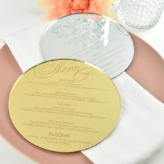 Personalised Engraved Round Mirror Gold & Silver Wedding Menu
