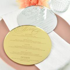 Personalised Engraved Round Mirror Gold & Silver Wedding Menu