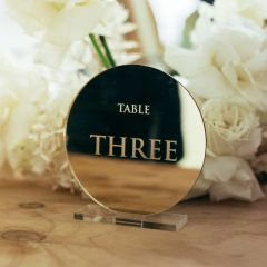 Personalised Engraved Mirror Gold Round Wedding Reception Table Number