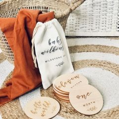 Personalised Engraved Milestone Cards and Print Calico Bag