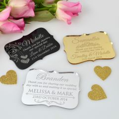 Personalised engraved gold, silver & black acrylic royal style wedding place cards.