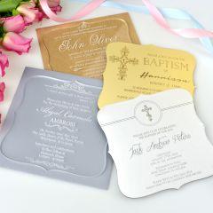 Personalised Engraved Royal Style Acrylic Christening Invitations