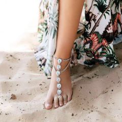 Bridal Party Silver Barefoot Crystal Sand Jewels