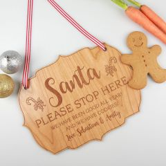 Personalised Engraved Wooden Santa Please Stop Here Sign Christmas Present