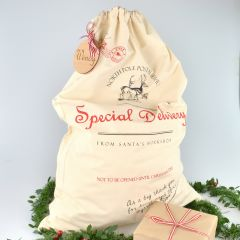 Colour Printed Special Delivery Calico Santa Sack with Personalised Wooden Tag