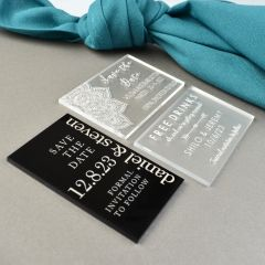 Personalised Engraved Mini Black, Clear & Frosted Wedding Save the Dates