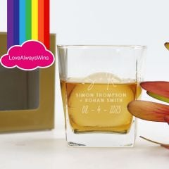 Personalised Engraved Same Sex Wedding Scotch Glass Favour or Bridal Party Gift