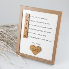 Personalised Engraved Father's Day Scrabble Piece Sentimental Wooden Photo Frame Present