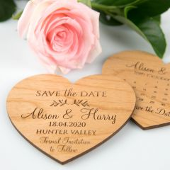Personalised engraved wooden heart wedding save the date