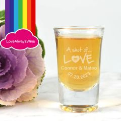 Personalised Engraved Same Sex Wedding Shot Glass Favours or Bridal Party Gifts