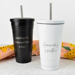 Personalised Engraved Black and White Smoothie Cup With metal Straw
