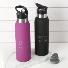 Personalised Engraved Pink & Black Sport Drink Water Bottle With pop Up Straw Mother's Day Present