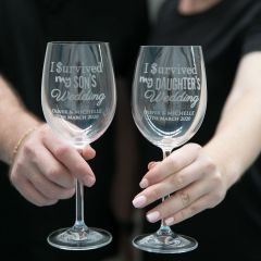I survived my daughters wedding wine glass gift for parents