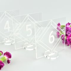 Clear Acrylic Square Wedding Reception Table Numbers with Stand