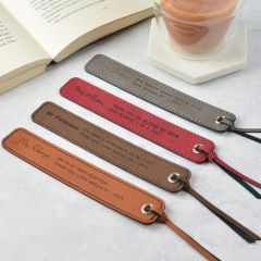 Personalised Engraved Leatherette Grey, Brown & Red Teacher Bookmarks gift present