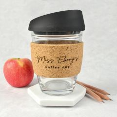 Personalised Engraved Black Lid, Glass, Cork Christmas Teacher Keep Coffee cup Present