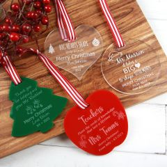 Personalised Laser Cut & Engraved Acrylic Christmas Teacher's XMAS tree, Heart, Circle and Apple Decoration Present