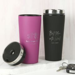 Personalised Engraved Mother's Day Black & Pink Thermo Travel Mug Present