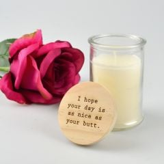 Personalised Engraved Valentine's Day Jasmine Palm Wax Candle with Wooden Lid