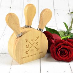 Personalised Engraved Valentine's Day Cheese knife Block Set Present