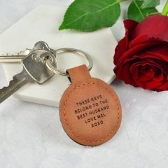 Personalised Engraved Valentine's Day Tan Leatherette Keyring Present
