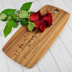 Personalised Engraved Valentine's Day Acacia Wood Tapas Board Present