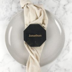 Personalised Engraved Octagonal Black Marble Coaster Gold Infill Place Card Favours