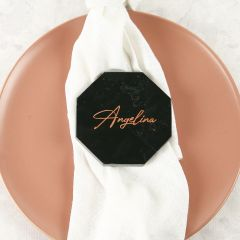 Personalised Engraved Wedding Black Octagonal Marble Coaster with Metallic Rose Gold In-fill