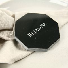 Personalised Engraved Wedding Black Octagonal Marble Coaster with Metallic Silver Infill