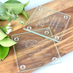 Engraved Wedding Gift Glass Coaster