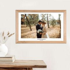 Wall Hanging Acrylic Engagement Wedding Photo Print in Wooden Frame