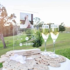 Personalised Printed A4 Acrylic Wedding Spotify Song Code Plaque with Engraved Wooden Base