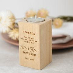 Personalised Engraved Wooden Tealight Holder Wedding Favour Gift