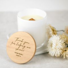 Personalised Engraved White Wood Wick Soy Candle with Wooden Lid Teacher's Gift