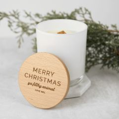 Personalised Engraved White Christmas Wood Wick Soy Candle with Wooden Lid Gift
