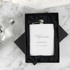 Personalised Engraved White Groomsman Best Man Father of the Bride Groom Hip Flask Gift