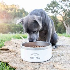 Personalised Engraved White Stainless Steel Round Dog Bowl