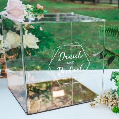 Custom designed engraved clear acrylic wedding wishing well and card box