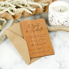 Personalised Engraved Wooden Postponed Wedding Save the Dates Invitations.