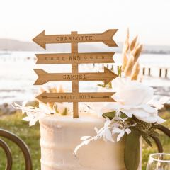 Personalised laser cut Maple Wood Love Arrow Wedding Reception Cake Topper