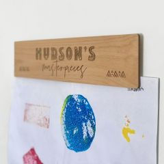 Personalised Engraved Wooden Kids Artwork Wall Display Hanger