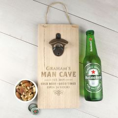 Personalised Engraved Father's Day Man Cave Sign with Brass Bottle Opener Present