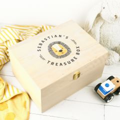 Personalised Printed Wooden Treasure Keepsake Box for Boys
