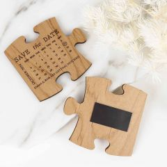 Personalised Engraved Wooden Save the Dates Puzzle pieces with keyring