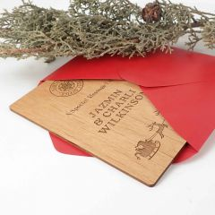 Personalised Engraved Wooden Santa Claus Card with C6 Envelope