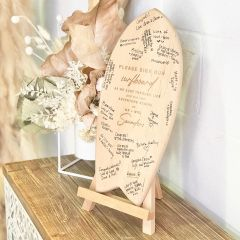 Personalised Engraved Wooden Surfboard Guest Book with Easel