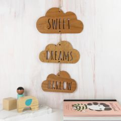 Personalised Laser Cut Wooden Cloud Room Sign Hanging Decoration Birthday Present